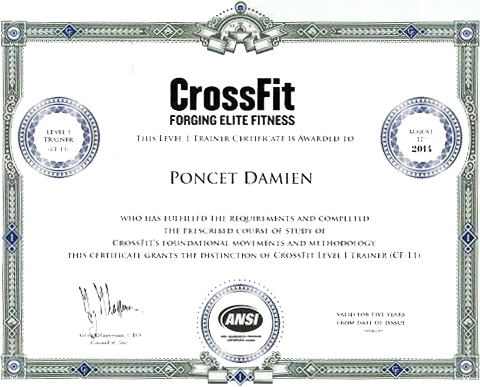 Damien Poncet CrossFit Trainer Level 1