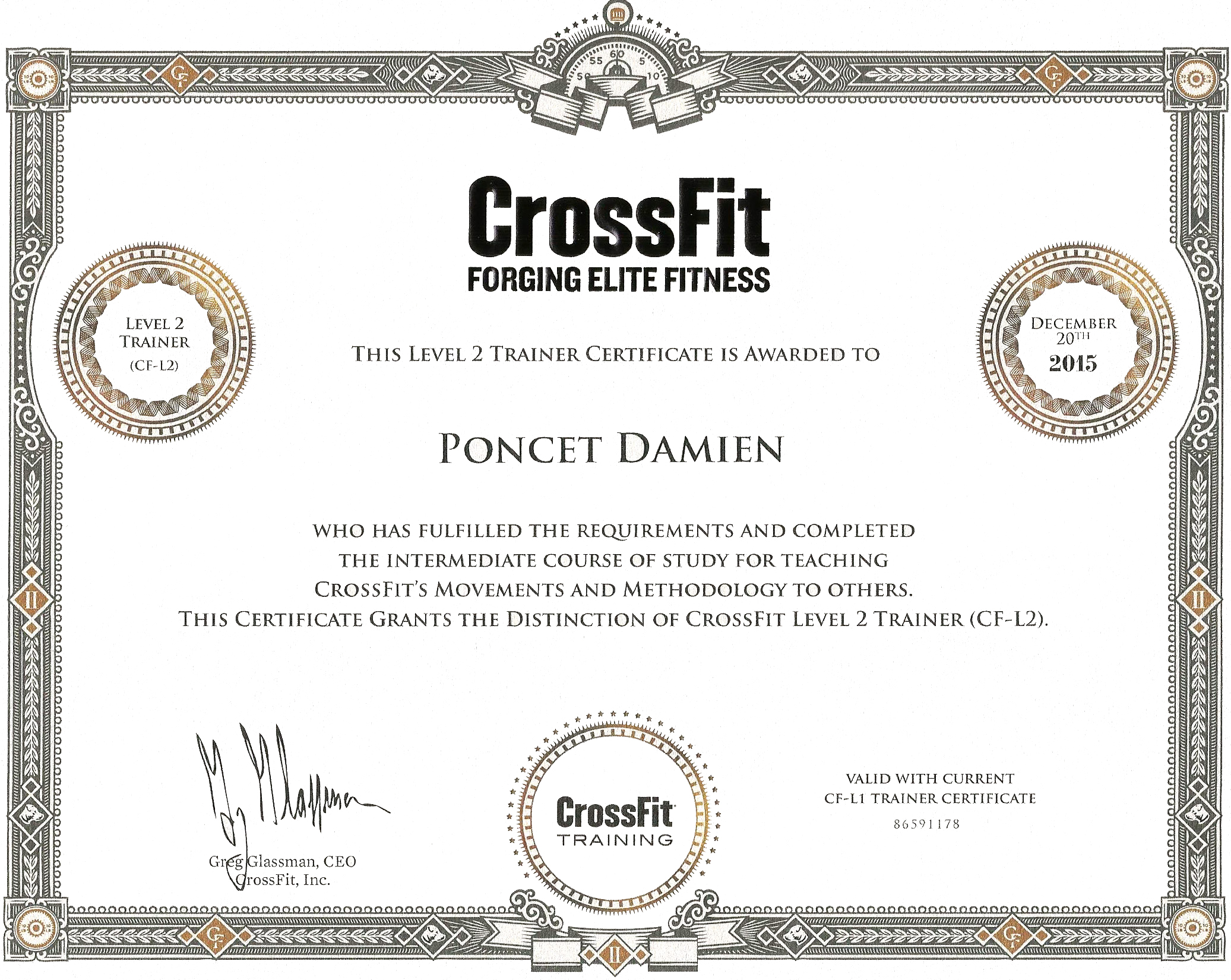 Damien Poncet CrossFit Trainer Level 2